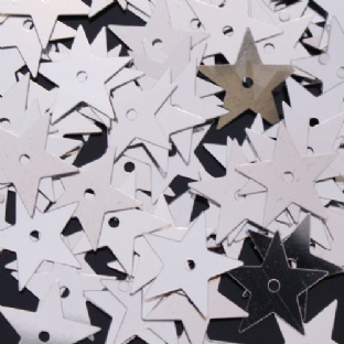 Value Pack 50g 15mm Metallic Silver Star Sequins.